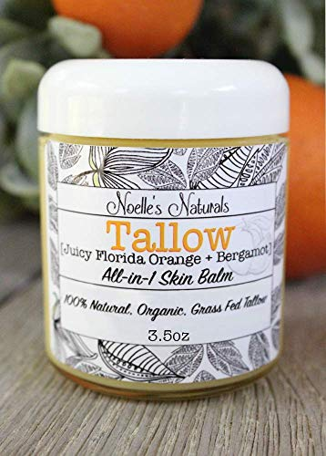 (Tallow Balm - Organic Grassfed Tallow - Orange + Bergamot - Moisturizing - Dry Skin - Stretch Marks - All Natural)