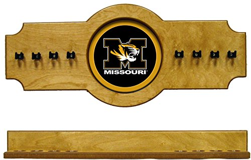 (NCAA Missouri Tigers MIZCRR100-O 2 pc Hanging Wall Pool Cue Stick Holder Rack - Oak)