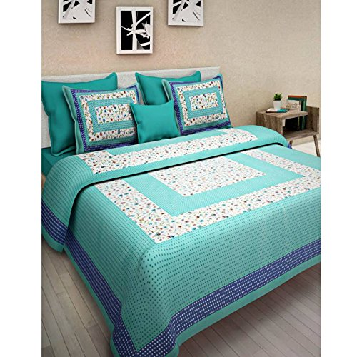 Bed sheet Jaipur block printed 100% Cotton, Traditional Sanganeri Printed, Pure Cotton Printed Double Bedsheet With Two Pillow Covers, Solid Cotton Bed sheet, Double Bed Sheet with 2 Pillow - Sheet Block Bed Cotton Printed