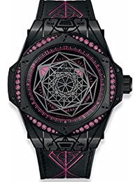 Big Bang Sang Bleu All Black Pink Sapphires Womans Watch