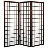 window accents panels - Oriental Furniture 4 ft. Tall Window Pane Shoji Screen - Walnut - 3 Panels