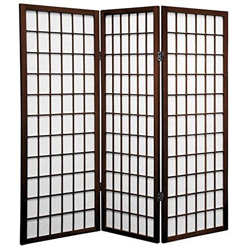 ORIENTAL FURNITURE 4 ft. Tall Window Pane Shoji Screen - Walnut - 3 Panels