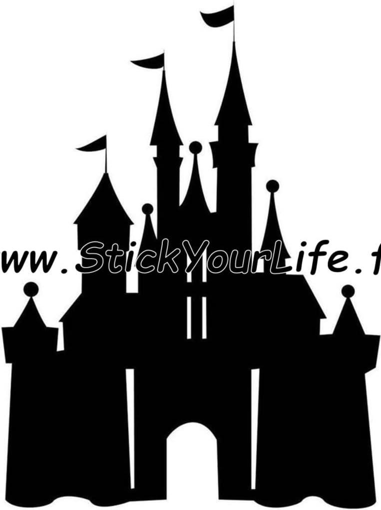 Chateau Disney Sticker Autocollant 10cm Mickey Minnie Princesse Belle Clochette Blanc Amazon Fr Cuisine Maison