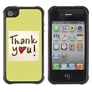 Suave TPU GEL Carcasa Funda Silicona Blando Estuche Caso de protección (para) Apple Iphone 4 / 4S / CECELL Phone case / / Thank You /