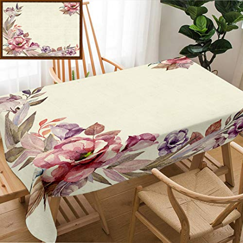 Unique Custom Design Cotton and Linen Blend Tablecloth Invitation Card with Watercolor FlowersTablecovers for Rectangle Tables, Small Size 48