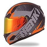 NENKI Helmets NK-856 Full Face Motorcycle Helmets DOT Approved With Iridium Red Visor and Inner Sun Shield Attached Outer Clear Visor (M, Matt Black & Orange)