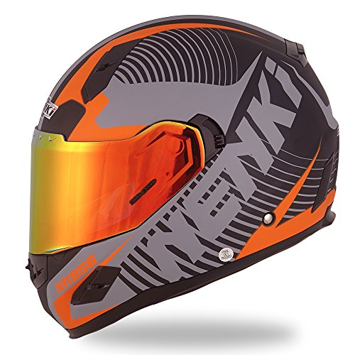 NENKI Helmets NK-856 Full Face Motorcycle Helmets DOT Approved With Iridium Red Visor and Inner Sun Shield Attached Outer Clear Visor (M, Matt Black & Orange) (Best Ventilated Full Face Motorcycle Helmet)