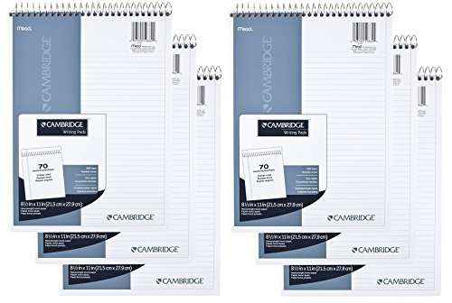 Mead Cambridge Notebook, Wirebound NotePad, College ruled Stiff-Back, 8.5 x 11 Inches, White (59882) Pack Of 6 Mead Wirebound Notebook