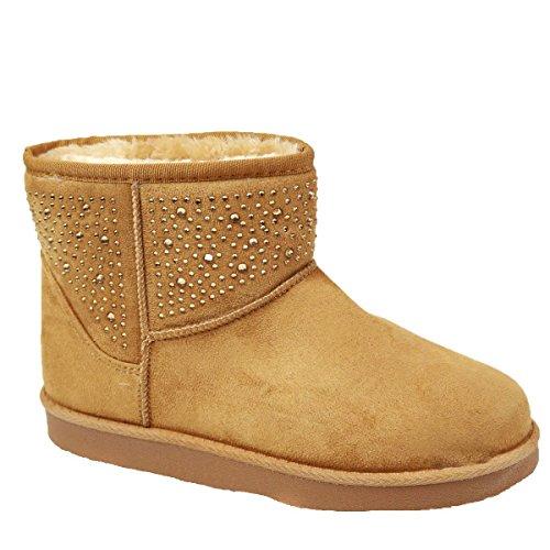 Bottes femme boots fourrées camel basses avec strass qualité supérieure