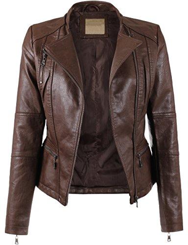 KOOLDO Womens Faux Leather Zip Up Classic Moto Jacket-L-DARK_BROWN (Brown Female Leather Jacket)