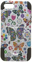 HR Wireless Case for Apple iPhone Se - Retail Packaging - Colorful Butterfly Flower Polka Dot Floral