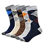 OKISS Men's Cotton Dress Socks Colorful Patterned Winter Thick Crew Socks Stripe Solid Argyle - Pack of 3/5 (5-pack Argyle)