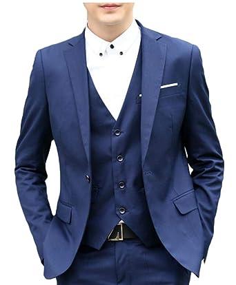 BingSai - Pantalón de Traje - para Hombre Azul Azul Marino ...