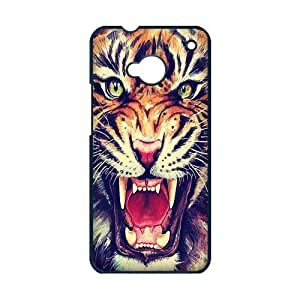 HTC ONE M7 Case,Tiger Roar Hipster Quote Hign Definition Wonerful Design Cover With Plastic Protective Hard Case