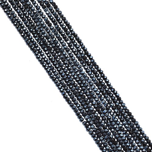 nds Black Spinel Glass 3mm Faceted Rondelle Beads Strand,Approx 15