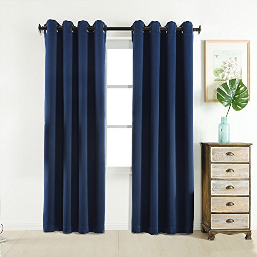 Sleep Well Blackout Curtains Toxic Free Energy Smart Thermal Insulated,52 W X 84 L Inch,Grommet Top,Set Of 2 Panels Navy BLUE 03 Curtains With Bonus Tie Back