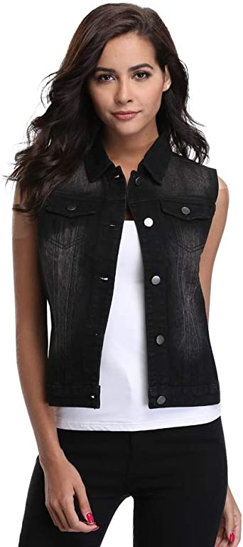 Women Sleeveless Jeans Jacket Washed Denim Vest Button Up Pockets Vest Light Blue XL