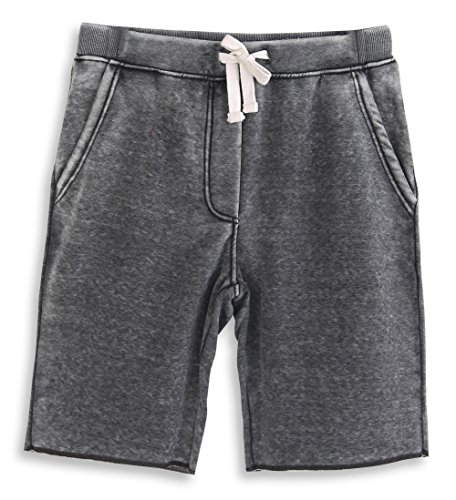 (HARBETH Men's Casual Soft Cotton Elastic Fleece Jogger Gym Active Pocket Shorts Burnout Gray M )