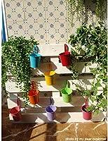 GIOVARA Maceta de Metal Colgante Florero con Soporte Extraíble para Balcón Jardín Patio Cubo Macetero Plantador con Orificio de Drenaje (10 macetas Surtido de 10 Colores): Amazon.es: Jardín