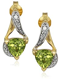 Sterling Silver Trillion-Cut Peridot and Diamond Accent Stud Earrings