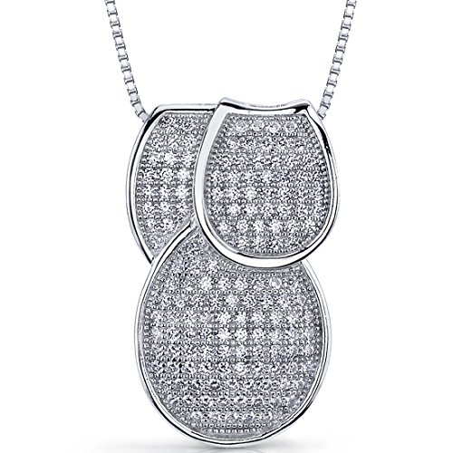 (Micro Pave Cubic Zirconia Tri-Sectional Pendant Necklace Sterling Silver)