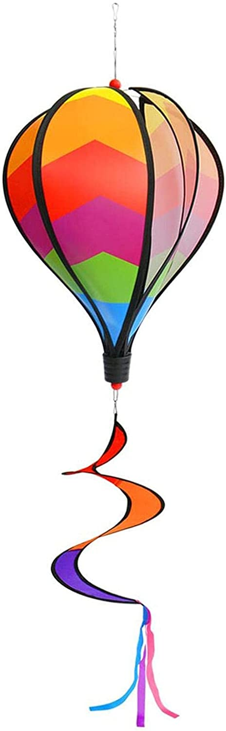 Colorful and Large Spinner Deluxe Hot Air Balloon Twist Yard and Garden Outdoor Patio Decorations Attractive Wind Spinner 54 Inches Each-Rainbow