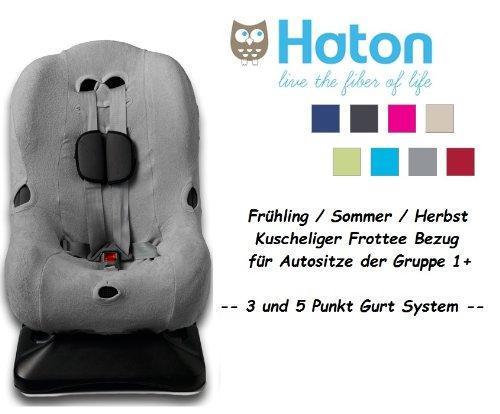 HATON – Housse universelle eponge -- Printemps / Été / Automne -- pour coque bébé, siège auto, par ex. Maxi-Cosi Priori / SPS / XP, Römer King Plus / TS / Duo -- GRIS