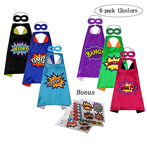 Diy Halloween Costumes Play On Words (Superhero Capes and Masks with Stickers for Kids Custume and Dress Up 6 Packs Reversible 12)