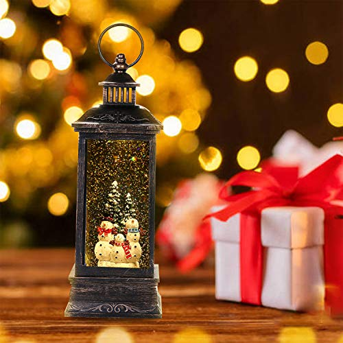 Christmas Lighted Water Lantern Glittering with Music,Singing Snow Globe Lanterns for Kids,Battery Operated/USB Powered with 8 Songs &Timer,Snowman Water Globe Lantern for Christmas Home Decoration
