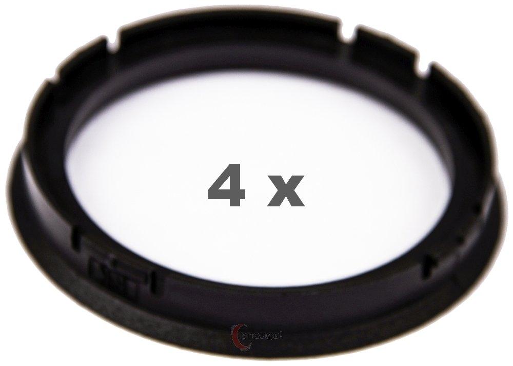 4 X Anello Di Centraggio 73.0 mm a 60.1 mm Nero/Black Pneugo
