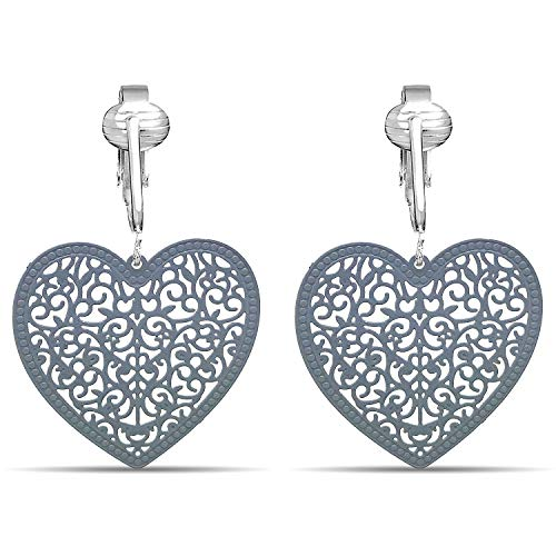 (Lovely Victorian Filigree Clip On Earrings for Women Clip-ons, Lightweight Teardrop Leaf Dangle (Grey Heart))