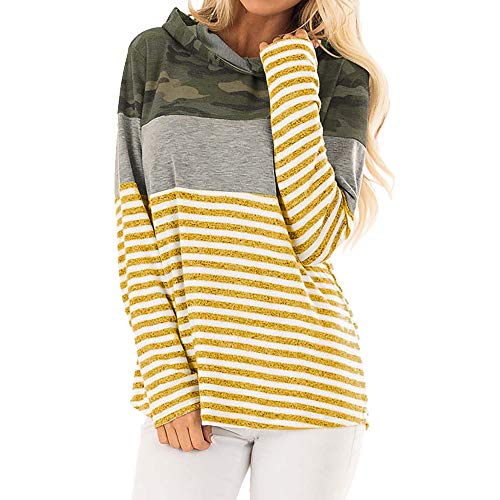 s Casual Long Sleeve Hoodie Striped Camouflage Print Blouse Tops T Shirt ()