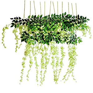 Miss Bloom Artificial Wisteria Vine - 12-Pack 3.6 Ft Spring Hanging Flowers Décor | Silk Plants Garlands for Sweet Home Kitchen Wall |Fake Plant Rattan for Outdoor Wedding Party Decorations (Green) 5