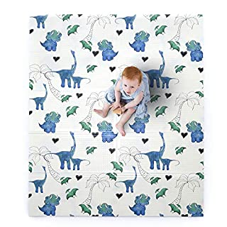 """JumpOff Jo – Large Waterproof Foam Padded Play Mat for Infants, Babies, Toddlers, 8+ Months – for Play & Tummy Time – 70 in. x 59 in. – Double-Sided Design: """"Tiny Dinos"""" Pink & Blue"""