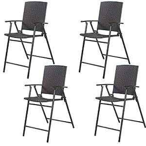 Tangkula 4 PCS Folding Wicker Sling Chairs Outdoor Indoor Foldbale Rattan  Reclining Chairs