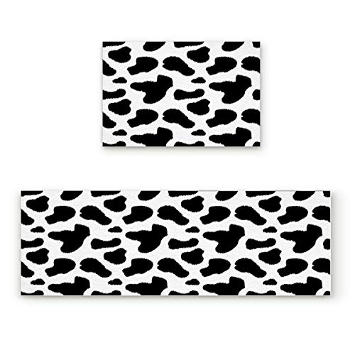 Cow Print Black and White Spots Farm Life with Cattle Camouflage Animal Skin 2 Piece Doormat Hallway Kitchen Runner Rug Carpet (Non-Slip) Rubber Backing Area Rug Set Floor Mat