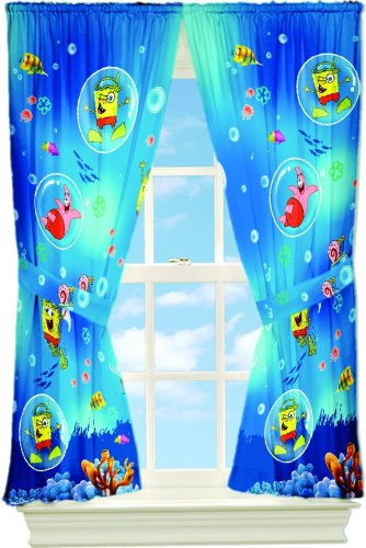 Sponge Bob School of Fish 63-Inch Drape (Spongebob Sea Adventure Bedding)