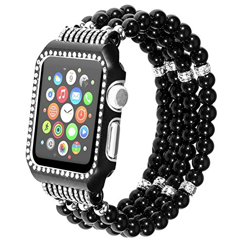 Ritastar for Apple Watch Series 1 2 3 Band with Bling Rhinestone Protective Case Elastic Handmade Bead Strap Replacement Wristband 42mm for iWatch Sport Edition (Black)