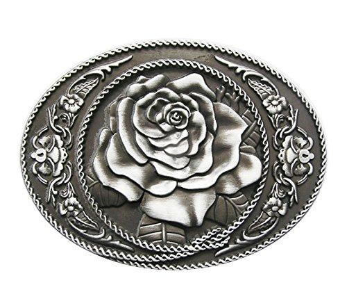 Schnalle123 Gürtelschnalle Western Rose Cowboy Blume 3D Optik für Wechselgürtel Gürtel Schnalle Buckle Modell 171