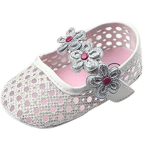 FireFrog Sweet Baby Girls Summer Mary Jane Princess Dress Soft Soled Bottom Shoes White 12-18 Month - Summer Infant Sweet