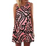 Winsummer Plus Size Womens Summer Sleeveless Tank T-Shirt Dress Casual Vintage Boho Floral Print Swing Short Dress Red