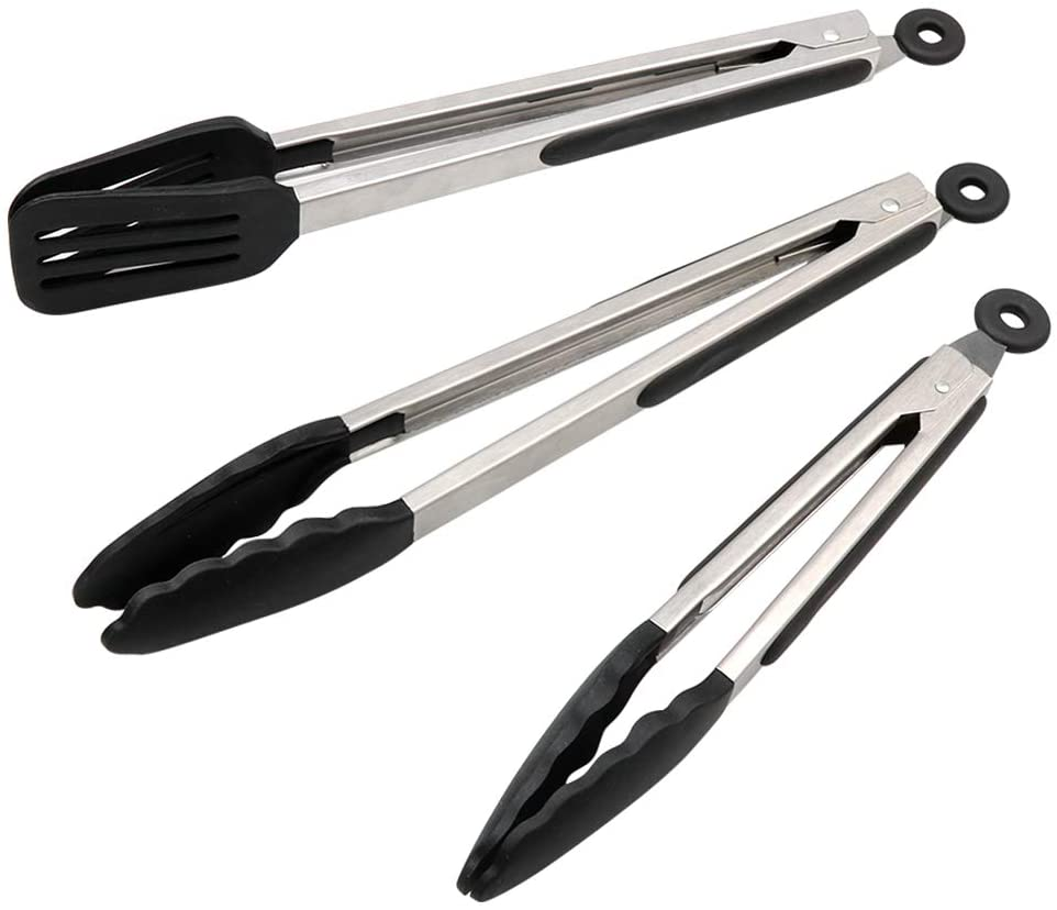 "Kitchen Tongs Set of 3 - Stainless Steel Cooking Tongs with Silicone Tips including 12"" Spatula Tong for Easy-Turning and 2 Basic Food Tongs(9"", 12"") for BBQ, Salad, Grilling, Serving (Black)"