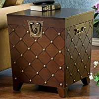 Calvert End Table in Deep Espresso Stain Finish-square,home Furniture Decor for Living Room Bedroom with Storage Space, Antique Gold Nail Heads,ideal for Pillows, Blankets and Other Household Necessities,1 Year Limited Manufacture