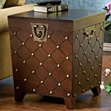 Calvert End Table in Deep Espresso Stain Finish-square,home Furniture Decor for Living Room Bedroom with Storage Space, Antique Gold Nail Heads,ideal for Pillows, Blankets and Other Household Necessities,1 Year Limited Manufacture Review