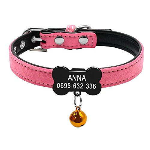Didog Custom Puppy Collars,Personalized Soft Suede Leather Collars Bone Shaped Slippable ID Tag Small Dogs