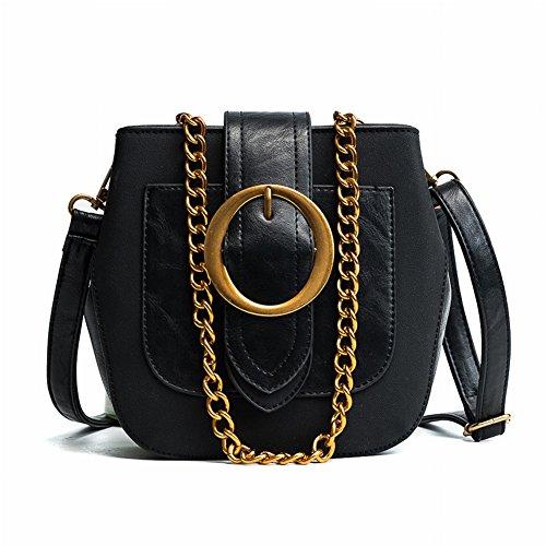 Modische Mode Ring Schnalle Leder Handtaschen Schulter Messenger Tasche , schwarz