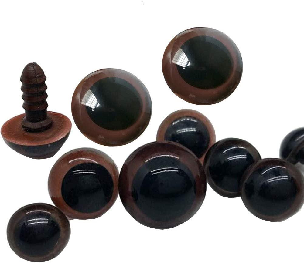 100 Pcs Round Brown Plastic Screw Insert Safety Solid Eyes DIY Sewing Crafting Handmade Button Garments Match Decorative Plush Bear Doll Eyes Nose Stuffed Button 18MM