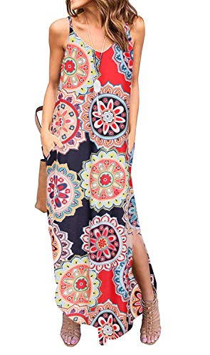 Sleeveless Strappy Cami Maxi Long Dress V Neck with Pockets Casual Summer Beach Skirt Cover Up Backless Side Slits Loose Solid Color for Women Circle Print, M