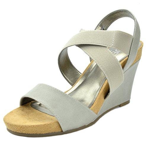 TOETOS Women's Solsoft-8 Grey Mid Heel Platform Wedges Sandals - 8 M US