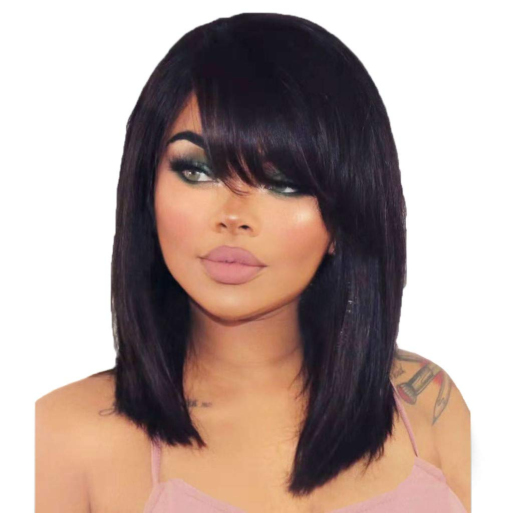 Women's Black Straight Hair,Women's Fashion Front lace Wig Synthetic Hair Short Wigs Straight Wig Cosplay (14 Inches, Black)